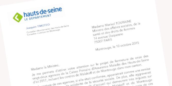 Fermetures des centres de sécurité sociale  : Courrier à Marisol Touraine