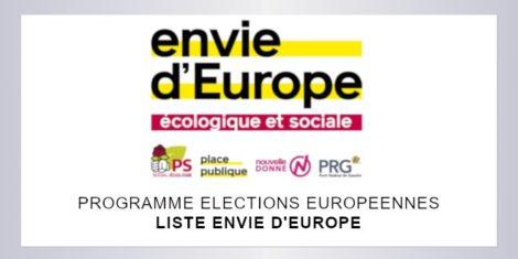 Européennes 2019 | Programme de la liste Envie d'Europe