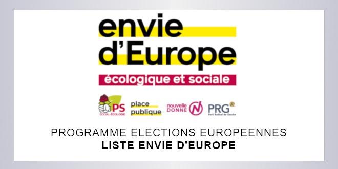 Européennes 2019   Programme de la liste Envie d'Europe