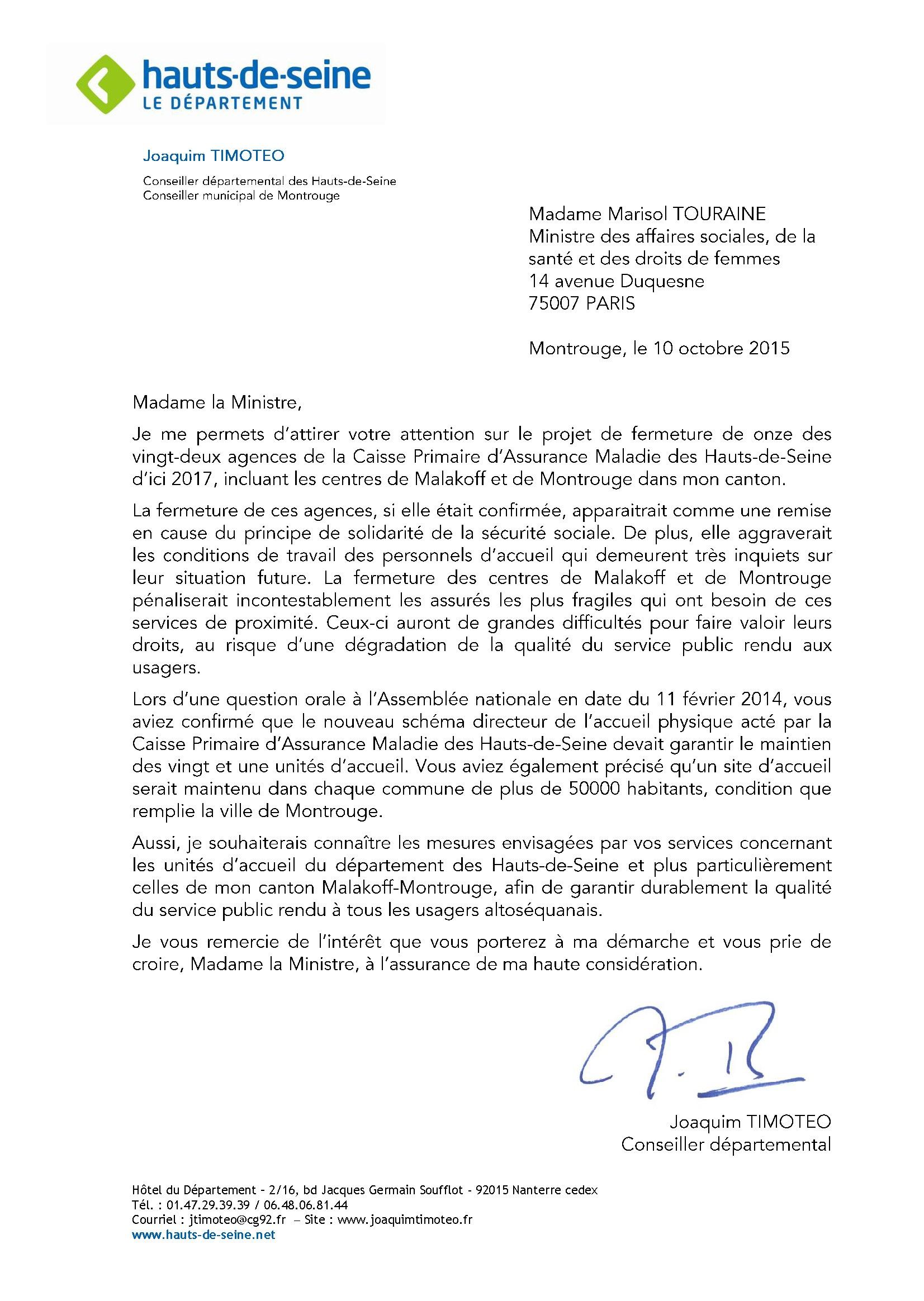 lettre CPAM92 Ministre sante
