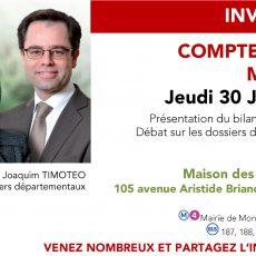 Invitation Compte rendu de mandat, le 30 juin